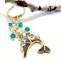 Ocean Inspired Silver Dolphin and Blue Crystal Drop Keychain Made with Swarovski Elements