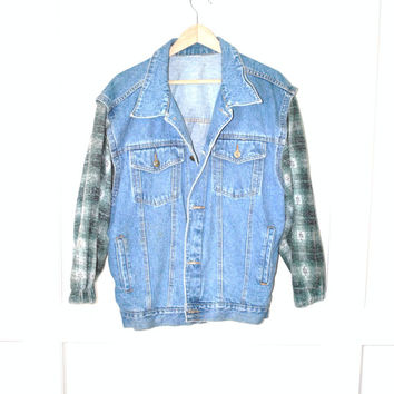 early 90s GRUNGE light wash denim jacket with flannel sleeves / men women medium