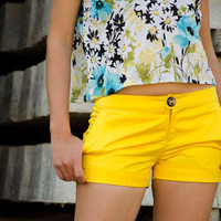 Yellow Women Shorts Handmade Made to Order by karmologyclinic