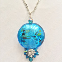 Blue Lampwork Glass Heart Necklace Birthday Gift  Plus Size Jewelry Friendship Gift