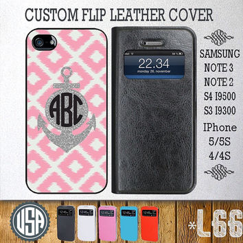 Personalized Anchor Monogram Flip Leather Cover @ Samsung Galaxy S4 Wallet Case S3 Samsung Note 3 Galaxy Note 2 IPhone 5 5S IPhone 4 4S L66