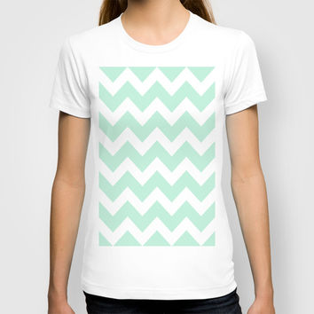 Chevron Mint Green & White T-shirt by BeautifulHomes | Society6