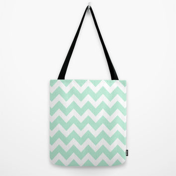 Chevron Mint Green & White Tote Bag by BeautifulHomes | Society6