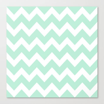 Chevron Mint Green & White Stretched Canvas by BeautifulHomes | Society6