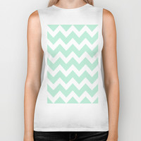 Chevron Mint Green & White Biker Tank by BeautifulHomes | Society6