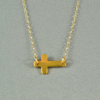 Etsy Transaction - Sideways Cross Necklace, 24K Gold Vermeil, 14K Gold Filled Chain, Modern, Simple, Delicate, Everyday Wear Necklace