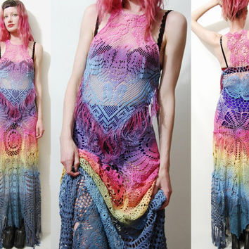CROCHET Dress Vintage Lace RAINBOW Ombre Fringe Cotton Long Maxi Gypsy Boho Hippie Bohemian HANDMADE ooak xs