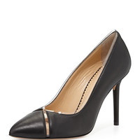 Natalie Leather/PVC Point-Toe Pump