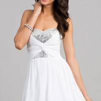 Short Strapless Dress with Sequin Bodice by B Darlin