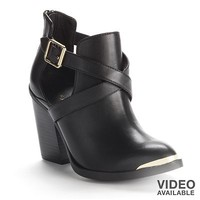Rock & Republic Black Chop-Out High Heel Ankle Booties - Women