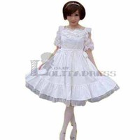 Lovely Short Sleeves Lace Cotton White Sweet Lolita Dress for Girls [TQL120507070] - £50.59 :