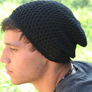 Men Slouch Beanie-Black