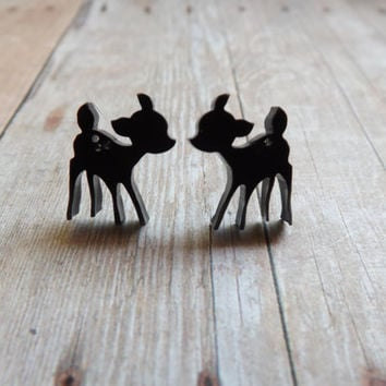 Tiny Deer Earrings Choose Your Color Deer Studs Animal Earrings White or Black Gift Under 20