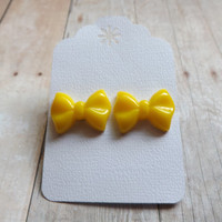 Neon Yellow Bright Yellow Bow Earrings Bow Studs Yellow Earrings Gift Under 20