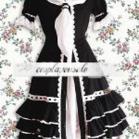 Lolita Costumes Cotton Black Ruffles Gothic Lolita Dress [T110567] - $73.00