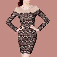 Bqueen Simple Long-sleeved Lace Dress D65Z - Designer Shoes|Bqueenshoes.com