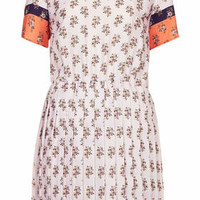 Pleated Ditsy Print Shift Dress - Off White