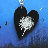 Black etched Dandelion heart pendant make a wish by WendyJNZ