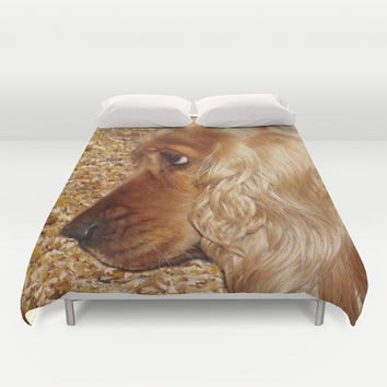 English Cocker Spaniel Duvet Cover by Erika Kaisersot