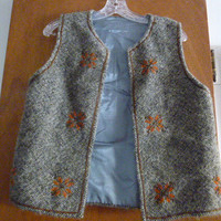 Womens Vintage Wool Embroidered Ethnic Peasant Vest