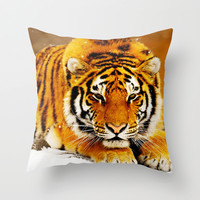 Siberian Tiger Throw Pillow by Erika Kaisersot