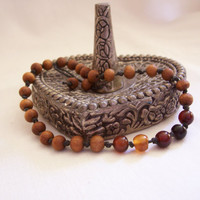 MALA BRACELET - Sandalwood Beads w/Semi-Precious Stones - Meditation - Healing - Prayer - Yoga Beads - Hand Knotted