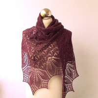 hand knitted merino and cotton shawl