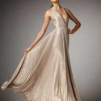 Carmen Marc Valvo - Pleated Metallic Halter Gown - Bergdorf Goodman
