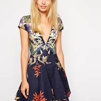 Stylestalker Blue Me Away Print Skater Dress
