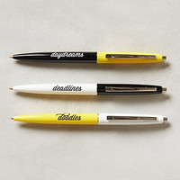 Ballpoint Pen Trio by Anthropologie Yellow Set Of 3 Office