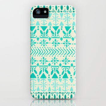 Norwegian Pattern – Aqua on White iPhone & iPod Case by Cat Coquillette