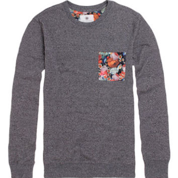On The Byas Dru Floral Pocket Crew Fleece - Mens Shirt - Gray -