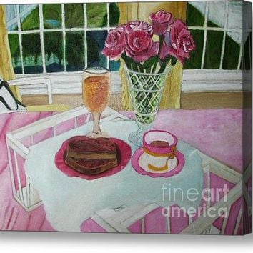 Oil Painting Breakfast Over Looks The Pond Acrylic Print