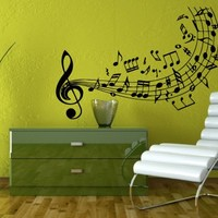 Musical Notes Flying Over the Stave Decal Sticker Art Design Room Nice Picture Decor Hall Wall Chu243