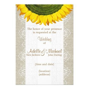 Italian Sunflower Linen Lace Wedding Invitation