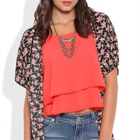 Short Sleeve Kimono with Red Rose Print