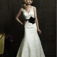 Buy discount Brilliant Satin Princess V-shaped Neckline Lace Wedding Dress With Handmade Flowers and Beadings at dressilyme.com
