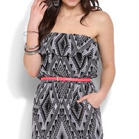 Strapless Ruffle Blouson Tribal Dress with Neon Belt