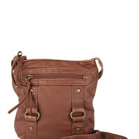 Crossbody Bag with Zipper Front and 2 Buckles