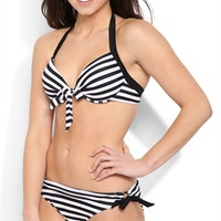 Striped Bikini Bottom with Solid Side Ties