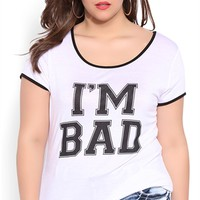 Plus Size Short Sleeve Tee with Im Bad Screen Print