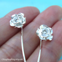 Long stem Rose flower earrings, Sterling silver post stud earrings, Bridal jewelry, Silver Rose Earrings