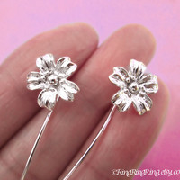 Long Stem Cherry Blossom flower earrings, sterling silver earring jewelry, Dangle earrings drop stems
