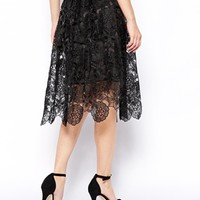 ASOS Premium Midi Skirt In Lace