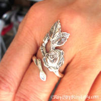 Rose Bloom Flower Ring, Adjustable Long Stem, Sterling Silver Floral Leaf Ring Jewelry, Silver Rose Ring