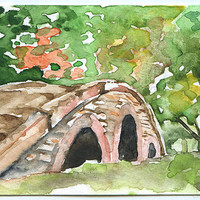 Bridge Watercolor Painting ACEO Archival Print