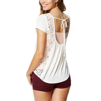 Lace Drape-Back Short-Sleeve Top