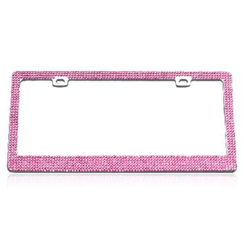 Pink 6 Row Fully Encrusted Crystal Rhinestone Stainless Steel License Plate Frame