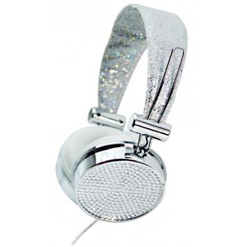 Silver Crystal Rhinestone Hype Gems Jewel DJ Stereo Headphones with In Line Mic