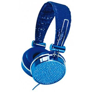 Blue Crystal Rhinestone Hype Gems Jewel DJ Stereo Headphones with In Line Mic